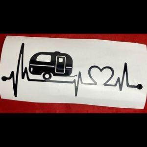 Camper Heart Monitor Black Vinyl Decal Sticker